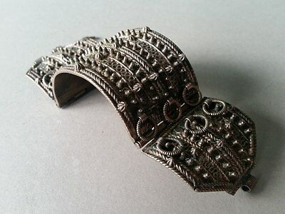 RARE ANTIQUE HEDGEHOG Ottoman Bracelet Hand knitted filigree silver alloy 19th c