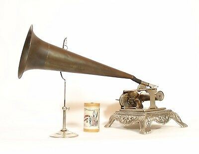 Outstanding & Beautiful 1901 Columbia Q Cylinder Phonograph w/Fancy Sears Base