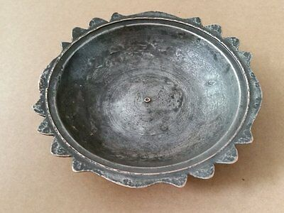 ANTIQUE TURKISH OTTOMAN COPPER DISH-PLATE WITH MASTER TUGHRA 19th century-14,5cm