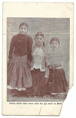 Bolivia, Slaves; Chola Girls That Were Sold for £2 Each PPC, Faults, Unposted