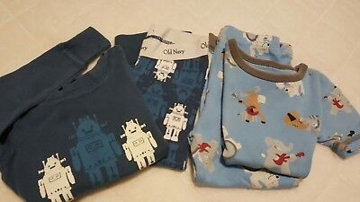 Lot of 2 Old Navy/Carter's Baby Toddler Boy Pajama Sets Size 12 Months - 2T