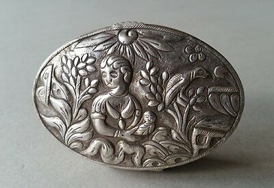 GENUINE Ottoman MEDICINE snuff Hand-wrought silver box with madonna-19th cen.