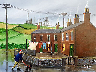 "Mal..burton Original Art Oil Painting   "" She Left The Washing Out Boy  """