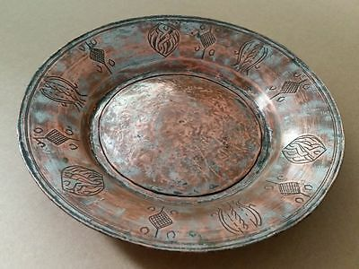 ANTIQUE OTTOMAN COPER DISH-PLATE ORNATE ENGRAVED WITH master's signature 18th C