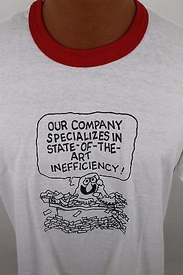 """Vintage 80s Sportswear Thin 50/50 T Shirt Ringer """"State-of-the-art Inefficiency"""""""