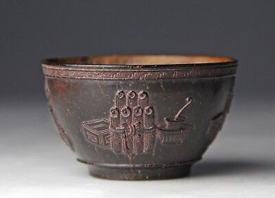 Wonderful Antique Chinese Carved Coconut Shell Cup With Vases Censers Objects