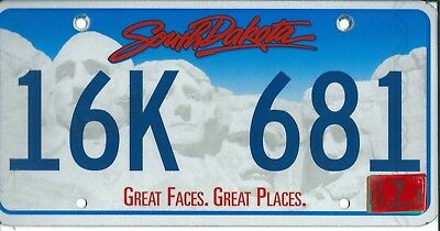 USA American licence plate,  SOUTH DAKOTA, GREAT FACES-GREAT PLACES   A