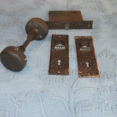 Antique Eastlake Victorian Mortise Lock,Wooden Knob,Pin,Set Screw,& Knob Plates