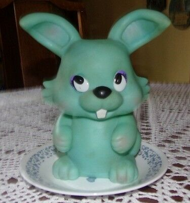 """Vintage Mint Green Rubber Bunny Bank 8"""" High - 6"""" Wide"""