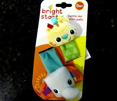 Bright Starts Rattle Me Wrist Pals 2 Baby Rattles Nursery NIP New In Pkg CLEAN!