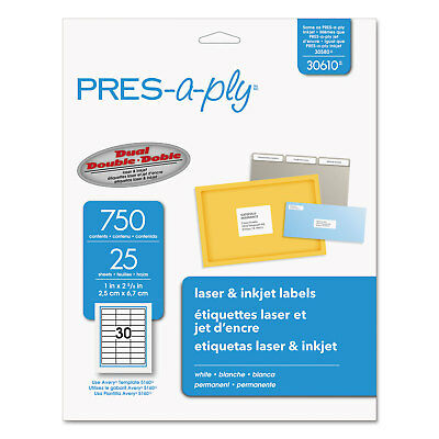 Pres-A-Ply Laser Address Labels 1 x 2 5/8 White 750/Pack 30610
