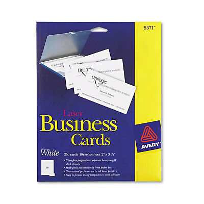 Avery Printable Microperf Business Cards Laser 2 x 3 1/2 White Uncoated 250/Pack