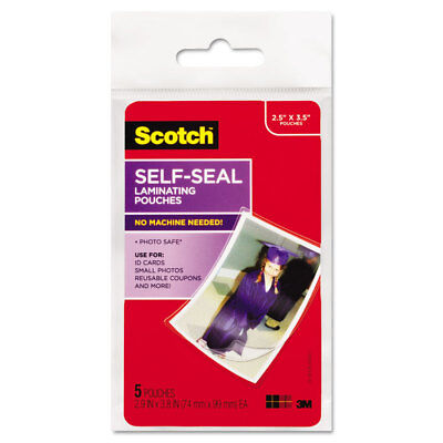 Scotch Self-Sealing Laminating Pouches Glossy 2 13/16 x 3 15/16 Wallet Size 5
