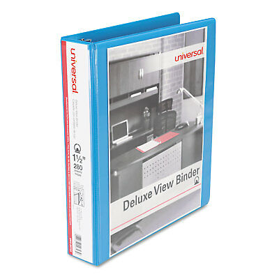 """UNIVERSAL Deluxe Round Ring View Binder 1-1/2"""" Capacity Light Blue 20723"""
