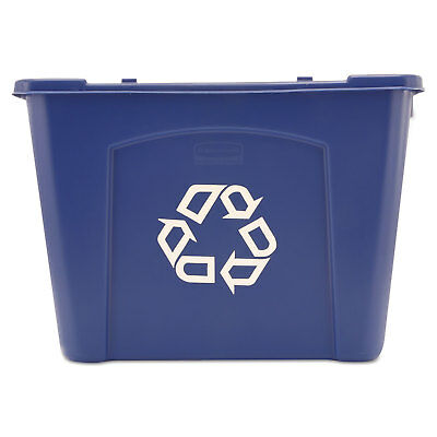Rubbermaid Commercial Stacking Recycle Bin Rectangular Polyethylene 14gal Blue
