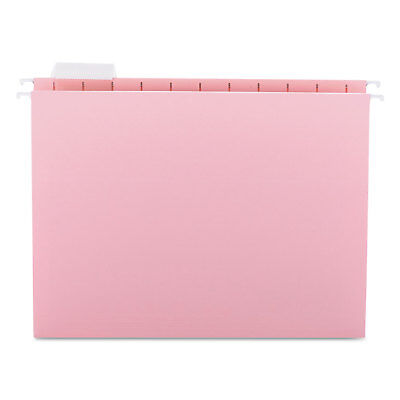 Smead Hanging File Folders 1/5 Tab 11 Point Stock Letter Pink 25/Box 64066