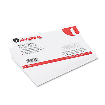 UNIVERSAL Unruled Index Cards 5 x 8 White 100/Pack 47240