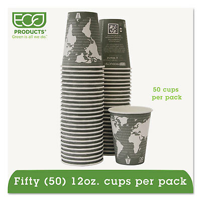 Eco-Products World Art Renewable/Compostable Hot Cups 12 oz Gray 50/Pack