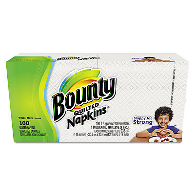 Bounty Quilted Napkins 1-Ply 12.1 x 12 White 100/Pack 34884PK