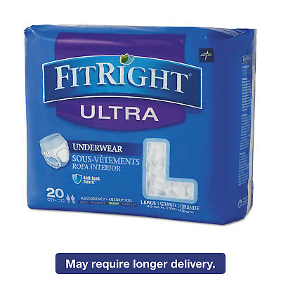 """Medline FitRight Ultra Protective Underwear Large 40-56"""" Waist 20/Pack FIT23505A"""