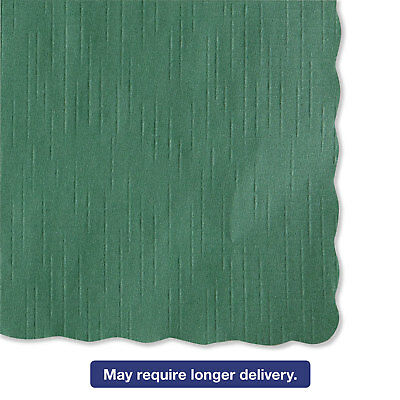 HOFFMASTER Solid Color Scalloped Edge Placemats 9 1/2 x 13 1/2 Hunter Green 1000