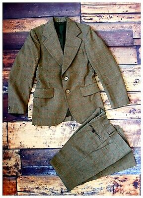 Vintage 1970's Tweed Checked Wool Mix Boys Suit NEW Green Age 10-12