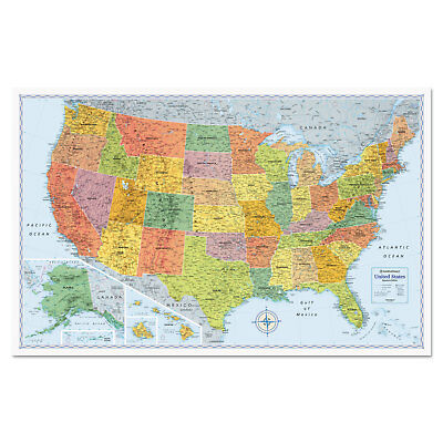 Advantus Corp U.S. Physical/Political Map Dry Erase Single Roller Mounted 50 x