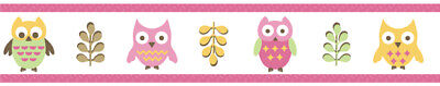 Sweet Jojo Designs Pink Happy Owl Baby Kid Wall Paper Border Room Wallcovering