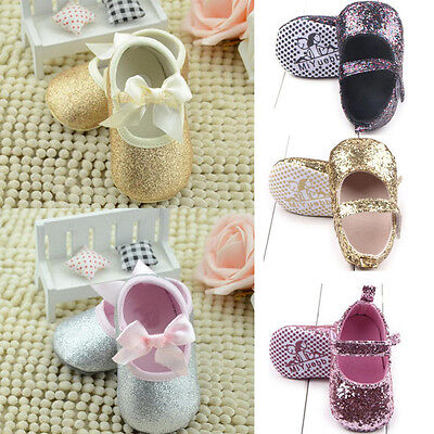Newborn Baby Girl Kids Glitter Crib Shoes Anti-slip Soft Sole Sneaker Prewalker
