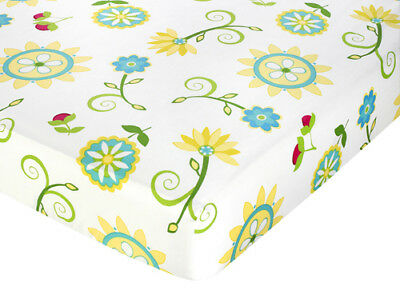 Sweet Jojo Designs Layla Crib or Toddler Fitted Sheet - Blue Floral Print Cotton
