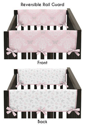 Damask Butterfly Baby Girl 2P Crib Side Rail Guard Wrap Cover Teething Protector