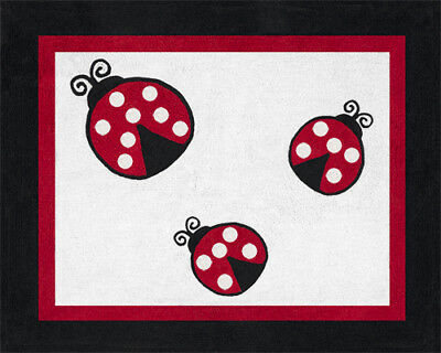 Girl Baby Kids Floor Rug for Sweet Jojo Ladybug Red White Polka Dot Bedding Set