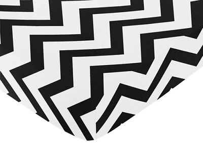 Jojo Designs Black And White Zig Zag Chevron Print Fitted Crib Toddler Sheet