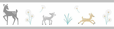 Sweet Jojo Deer Baby Kids Wall Paper Border Boy Girl Room Decor Wallcovering