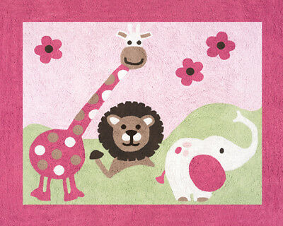 Girls Baby Kids Floor Rug Sweet Jojo Jungle Friends Safari Animals Bedding Set