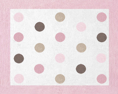 Girl Boy Baby Kid Teen Room Floor Rug for Sweet Jojo Pink Brown Dots Bedding Set
