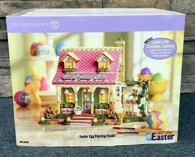 Rare DEPARTMENT 56 Snow Village 56.55385 EASTER EGG PAINTING STUDIO Snow Village