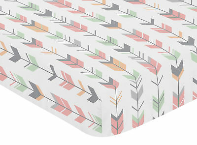 Sweet Jojo Baby Crib Toddler Fitted Sheet Coral Woodland Arrow Bedding - Arrow