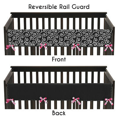 Jojo Black And White Madison Front Rail Guard Crib Cover Baby Teething Protector