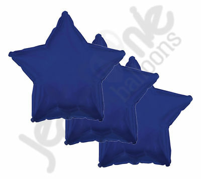 "3 pc - 18"" Solid Navy Blue Star Balloon Wedding Baby Bridal Shower Birthday Luau"
