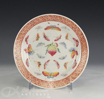 Antique Chinese Guangxu Porcelain Dish Plate With Fruit And Butterfly