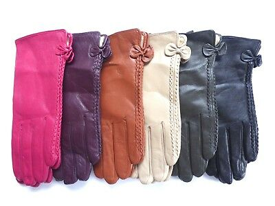 ladies womens leather driving winter gloves with small bow