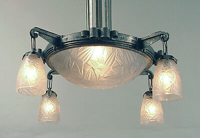 A Spectacular French Art Deco Light Fixture by Noverdy, Nickeled Wrought Iron