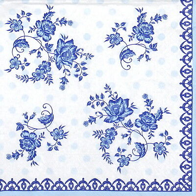 4x Paper Napkins for Decoupage Decopatch Craft Frisian Blue