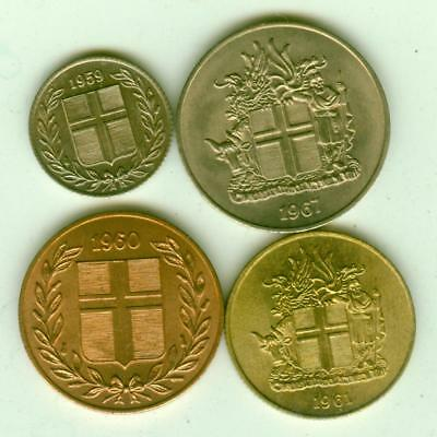 4 Iceland Uncirculated 1959-67 Coins-Lot D4