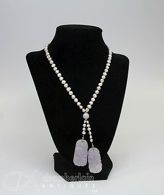 Beautiful Chinese Pearl 14K Gold And Lavender Jade Necklace