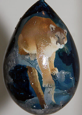gourd Christmas ornament with mountain lion, cougar, puma