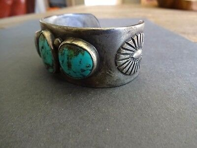 Navajo Cuff Bracelet Sterling Turquoise Size 7 1/8