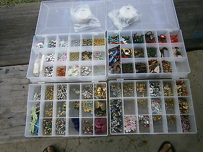 Braids Eyelets and Embellishments 4 plastic divided containers plus carry case