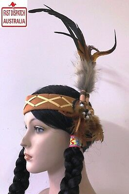 Native American Indian Headband Pheasent Feathers.spectacular!!!!